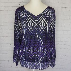 Chico's Purple Sequin Top Size 3 / US 16 Sheer Slv